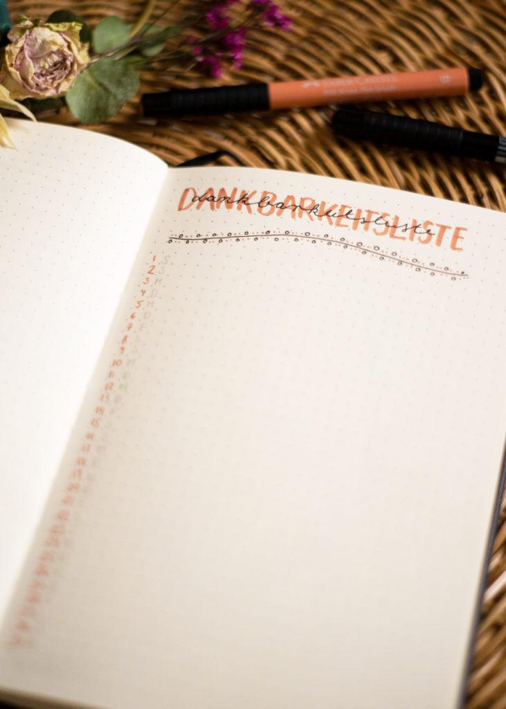 Bullet Journal Dankbarkeitsliste